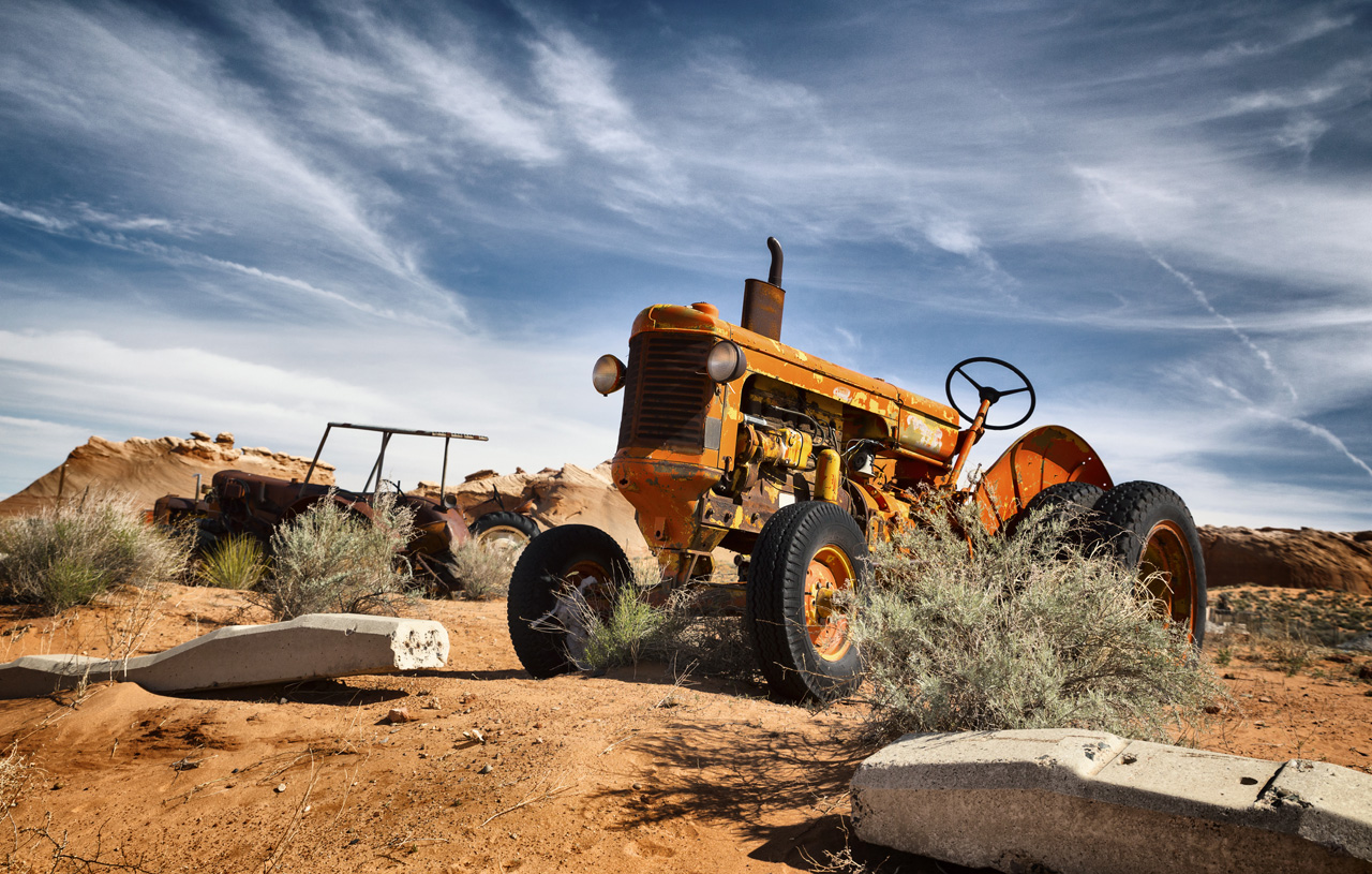bright orange tractor in Page, AZ