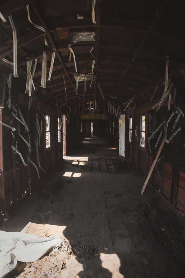 inside an abandoned train in Hyannis, MA