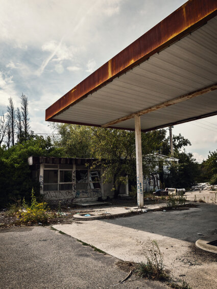 abandoned gas station in France